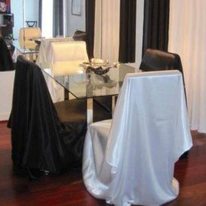 Two White Satin Chair Covers
